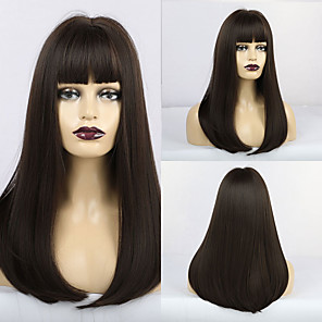 cheap Synthetic Trendy Wigs-Synthetic Wig Matte Natural Straight Neat Bang Wig Long sepia Synthetic Hair 20 inch Women's Middle Part Waterfall Dark Brown