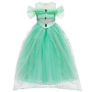 cheap Movie & TV Theme Costumes-Princess Princess Jasmine Dress Flower Girl Dress Girls' Movie Cosplay A-Line Slip Green Dress Children's Day Masquerade Tulle Polyester