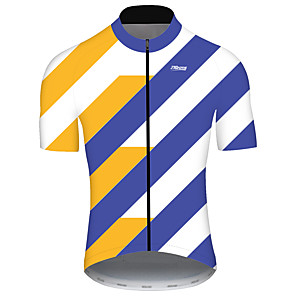 cheap Cycling Jerseys-21Grams Men's Short Sleeve Cycling Jersey Spandex Polyester Blue+Yellow Geometic Bike Jersey Top Mountain Bike MTB Road Bike Cycling UV Resistant Breathable Quick Dry Sports Clothing Apparel