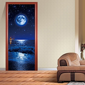 cheap Wall Stickers-3D Door Sticker Wood Adhesive Waterproof Wallpaper for Doors Living Room Bedroom Poster DIY Mural Decals Home Decor deursticker