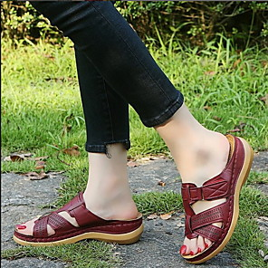 cheap Women's Sandals-Women's Sandals Wedge Sandals Flat Sandal Summer Flat Heel Round Toe Daily PU Black / Red / Burgundy