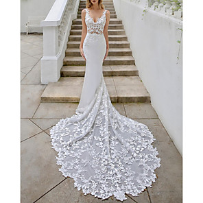 cheap Wedding Dresses-A-Line Wedding Dresses V Neck Sweep / Brush Train Lace Georgette Sleeveless Sexy Backless with Embroidery Appliques 2020