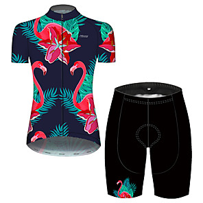cheap Cycling Jersey & Shorts / Pants Sets-21Grams Women's Short Sleeve Cycling Jersey with Shorts Blue+Pink Flamingo Floral Botanical Bike Breathable Quick Dry Sports Flamingo Mountain Bike MTB Road Bike Cycling Clothing Apparel