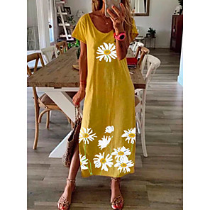 cheap Disinfection & Sterilizer-Women's Daisy Maxi long Dress - Short Sleeve Floral Print Summer Casual Vacation Loose 2020 Black Blue Yellow Gray S M L XL XXL XXXL