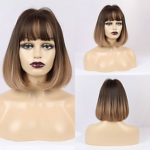 cheap Synthetic Trendy Wigs-Synthetic Wig Matte Natural Straight Casual Lolita Neat Bang Wig Long Light Brown Synthetic Hair 12 inch Women's Simple Middle Part Light Brown