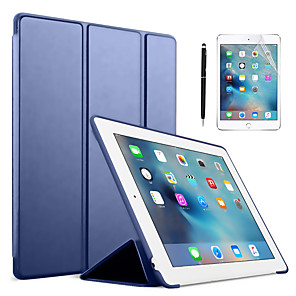 cheap iPad case-Solid Colored PU Leather Silicone Ipad Case With A Free 2in1 Stylus pen A Free Screen Protect For Apple iPad air3/9.7/10.5/11/10.2/air1/air2/Mini 12345