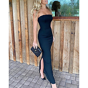 cheap Bridesmaid Dresses-Sheath / Column Elegant Black Party Wear Formal Evening Dress Strapless Sleeveless Floor Length Satin with Split 2020