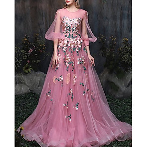 cheap Evening Dresses-A-Line Luxurious Pink Engagement Formal Evening Dress Illusion Neck 3/4 Length Sleeve Chapel Train Tulle with Appliques 2020