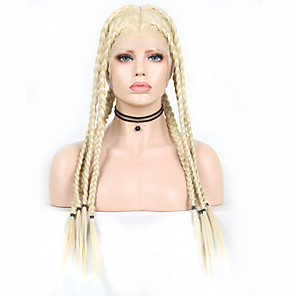 cheap Human Hair Capless Wigs-Synthetic Lace Front Wig Box Braids Plaited Middle Part Braid with Baby Hair Full Lace Wig Blonde Long Light Blonde Synthetic Hair 18-26 inch Women's Soft Party Women Blonde