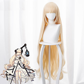 cheap Anime Cosplay Wigs-Arknights Nightingale Cosplay Wigs Women's Neat Bang 49 inch Heat Resistant Fiber kinky Straight White Yellow Adults' Anime Wig