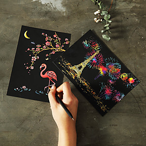cheap Drawing Toys-Drawing Toy Scratch Art Set Magic Scratch Paper Tower Cartoon Animal Pure Paper Painting Creative Kid's Boys and Girls for Birthday Gifts or Party Favors
