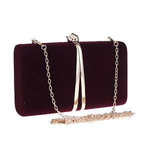 cheap Clutches & Evening Bags-Women's Chain Polyester Evening Bag Solid Color Wine / Red / Black
