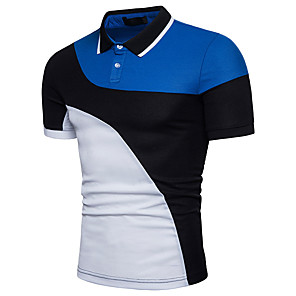 cheap Earrings-Men's Polo Color Block Patchwork Short Sleeve Tops Basic White Black / Work