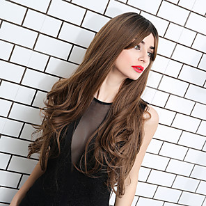 cheap Synthetic Trendy Wigs-Ombre Hair Weaves / Hair Bulk Synthetic Wig Weave Curly Water Wave Middle Part Side Part Neat Bang Wig Ombre Very Long Black / Brown Synthetic Hair 24 inch Women's Cosplay Women Synthetic Brown Ombre