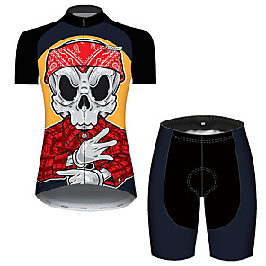 cheap Cycling Jersey & Shorts / Pants Sets-21Grams Women's Short Sleeve Cycling Jersey with Shorts Black / Red Skull Bike Breathable Quick Dry Sports Patterned Mountain Bike MTB Road Bike Cycling Clothing Apparel / Micro-elastic