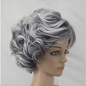 cheap Synthetic Trendy Wigs-Synthetic Wig Curly Matte Short Bob Wig Short Silver Synthetic Hair 6 inch Women's Fashionable Design curling Fluffy Silver