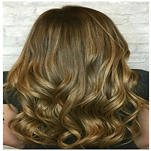 cheap Synthetic Trendy Wigs-Synthetic Wig Curly Asymmetrical Wig Long Light golden Synthetic Hair 18 inch Women's Women Easy dressing Lovely Blonde