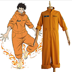 cheap Anime Costumes-Inspired by Fire Force Anime Cosplay Costumes Japanese Cosplay Suits Leotard / Onesie For Men's Women's