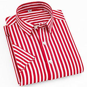 cheap Stuffed Animals-Men's Daily Shirt Striped Plaid Print Short Sleeve Tops Button Down Collar Red