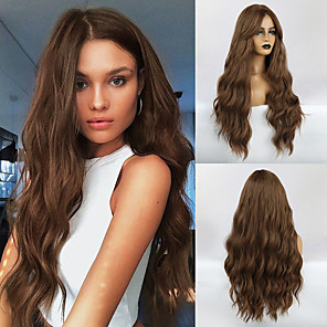 cheap Synthetic Trendy Wigs-Synthetic Wig Weave Wavy Water Wave Middle Part Side Part Wig Very Long Light Brown Synthetic Hair 26 inch Women's Classic Women Synthetic Light Brown HAIR CUBE / African American Wig