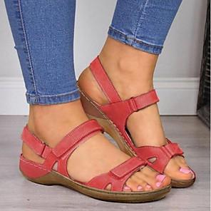 cheap Women's Sandals-Women's Sandals Flat Sandal Summer Flat Heel Peep Toe Daily PU Wine / Yellow / Blue