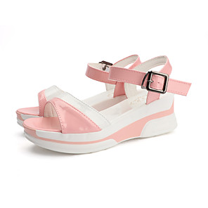 cheap Women's Sandals-Women's Sandals Wedge Sandals Summer Wedge Heel Open Toe Casual Daily PU Pink / White / Black / White