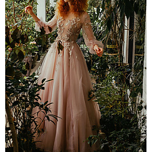 cheap Prom Dresses-A-Line Floral Pink Wedding Guest Prom Dress Jewel Neck Long Sleeve Floor Length Tulle with Pleats Appliques 2020