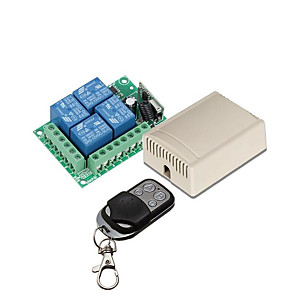 cheap Relays-433Mhz Wireless Remote Control Switch DC 12V 4ch relay Receiver and Transmitter