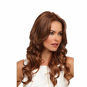 cheap Synthetic Trendy Wigs-Synthetic Wig Curly Middle Part Wig Short Brown Synthetic Hair 24 inch Women's Sexy Lady Middle Part curling Brown