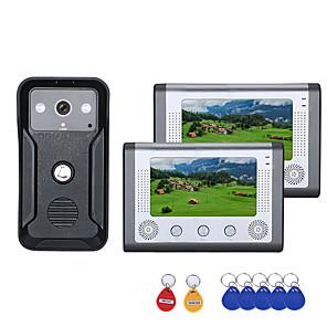ราคาถูก ระบบ Video Door Phone-7 นิ้ว 2 จอภาพสีวิดีโออินเตอร์คอมประตูโทรศัพท์ระบบ rfid กับออดออด 1000tvl กล้อง