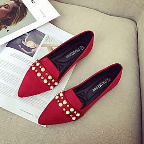 cheap Wedding Shoes-Women's Wedding Shoes Summer Platform Pointed Toe Wedding Suede Black / Red