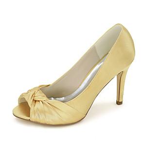 cheap Wedding Shoes-Women's Wedding Shoes Spring / Summer Stiletto Heel Peep Toe Minimalism Wedding Party & Evening Solid Colored Satin White / Black / Purple