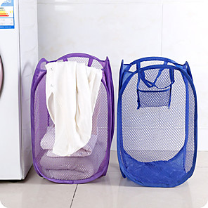 cheap Bathroom Gadgets-Foldable Nylon Mesh Fabric Laundry Basket Storage Toy Orgnizer Washing Basket Dirty Clothes Sundries Basket Candy Color