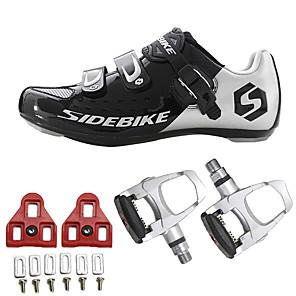 hesapli Bisiklet Ayakkabıları-SIDEBIKE Yetişkin Pedallı ve Kelepçeli Bisiklet Ayakkabıları Yol Bisiklet Ayakkabıları Karbon fiber Tamponlama Bisiklet Siyah Erkek Bisiklet Ayakkabıları / Hava Alan File