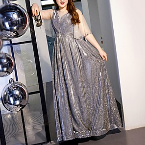 cheap Prom Dresses-A-Line Glittering Plus Size Engagement Prom Dress Illusion Neck Half Sleeve Floor Length Tulle with Sequin 2020