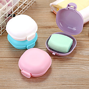 cheap Bathroom Gadgets-Bathroom Soap Dish Plate Case Home Shower Travel Hiking Holder Container Soap Box Zeepbakje Porte Savon Jabonera Soap Holder Random Color