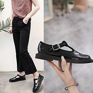 cheap Women's Sandals-Women's Flats Summer Flat Heel Round Toe Daily PU Black