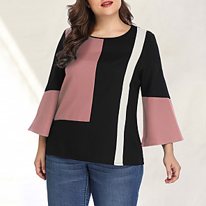 cheap Smartwatches-Women's Plus Size Blouse Color Block Patchwork Long Sleeve Tops Chiffon Basic Streetwear Blushing Pink Green / Going out