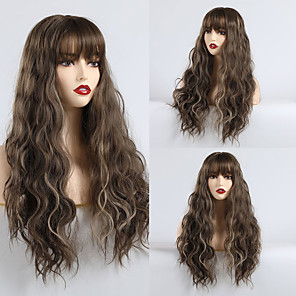 cheap Synthetic Trendy Wigs-Synthetic Wig kinky Straight Water Wave Lily Neat Bang Wig Long sepia Synthetic Hair 24 inch Women's Cute Party Comfortable Brown