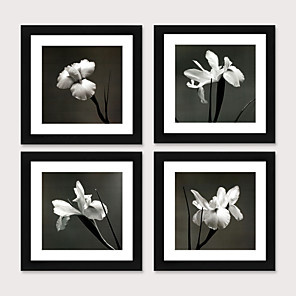 cheap Framed Arts-Framed Art Print Framed Set Modern of Contemporary Contracted Black And White Flower Study Bedroom Dining-Room Ready to Hang