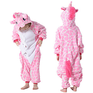 cheap Kigurumi Pajamas-Kid's Kigurumi Pajamas Unicorn Flying Horse Onesie Pajamas Flannelette Pink Cosplay For Boys and Girls Animal Sleepwear Cartoon Festival / Holiday Costumes