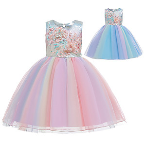 cheap Movie & TV Theme Costumes-Princess Unicorn Dress Flower Girl Dress Girls' Movie Cosplay A-Line Slip Pink / Blue Dress Children's Day Masquerade Tulle Polyester Sequin