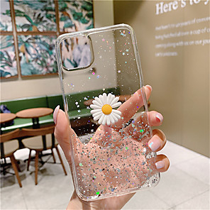 cheap iPhone Cases-Glitter Powder 3D Daisy Phone Case For iPhone SE 2020 / 11 / 11Pro / 11 Pro Max / X /  XS / XR /  XS Max / 8Plus / 8 / 7Plus / 7 / 6sPlus / 6S  Soft Silicone Clear Back Cases Epoxy Cover