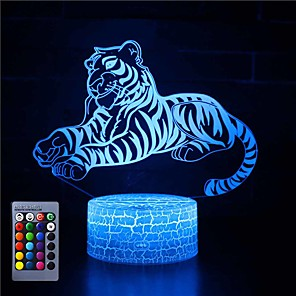 cheap 3D Night Lights-3D Night Lights Tiger16 Colors Light Home Decoration Lamp Amazing Visualization Optical Illusion Gift Button Halloween Three-in-One Modeatmosphere Lamp