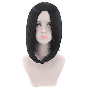 cheap Synthetic Lace Wigs-Synthetic Wig kinky Straight Middle Part Wig Short Natural Black Synthetic Hair 12 inch Women's Fashionable Design Life Classic Black