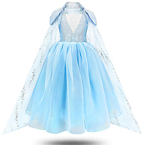 cheap Movie & TV Theme Costumes-Princess Elsa Dress Flower Girl Dress Girls' Movie Cosplay A-Line Slip Blue Dress Children's Day Masquerade Tulle Polyester