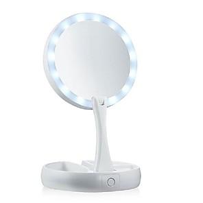 cheap Ring Lights-LED Makeup Mirror Professional Magnifying Mirrors Folding Mirror Tri-fold Desktop Mirrors Make Up Tools