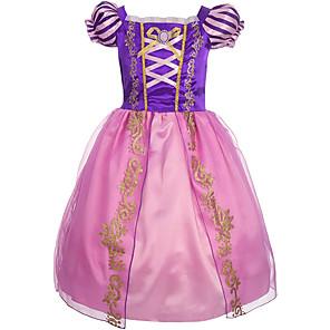 cheap Movie & TV Theme Costumes-Princess Fairytale Cosplay Dress Flower Girl Dress Kid's Girls' A-Line Slip Christmas Halloween Carnival Festival / Holiday Elastane Tactel Purple Carnival Costumes Vintage