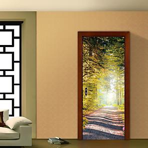 cheap Wall Stickers-3D Bamboo Forest Trail Landscape Waterfalls Door Wall Sticker Living Room Kitchen PVC Self-Adhesive Waterproof Sticker On The Doors Wallpaper 1 set 2pcs