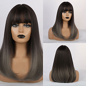 cheap Synthetic Trendy Wigs-Synthetic Wig Bangs Curly Water Wave Side Part Neat Bang With Bangs Wig Ombre Medium Length Ombre Brown Synthetic Hair 18 inch Women's Cosplay Women Synthetic Ombre HAIR CUBE / African American Wig